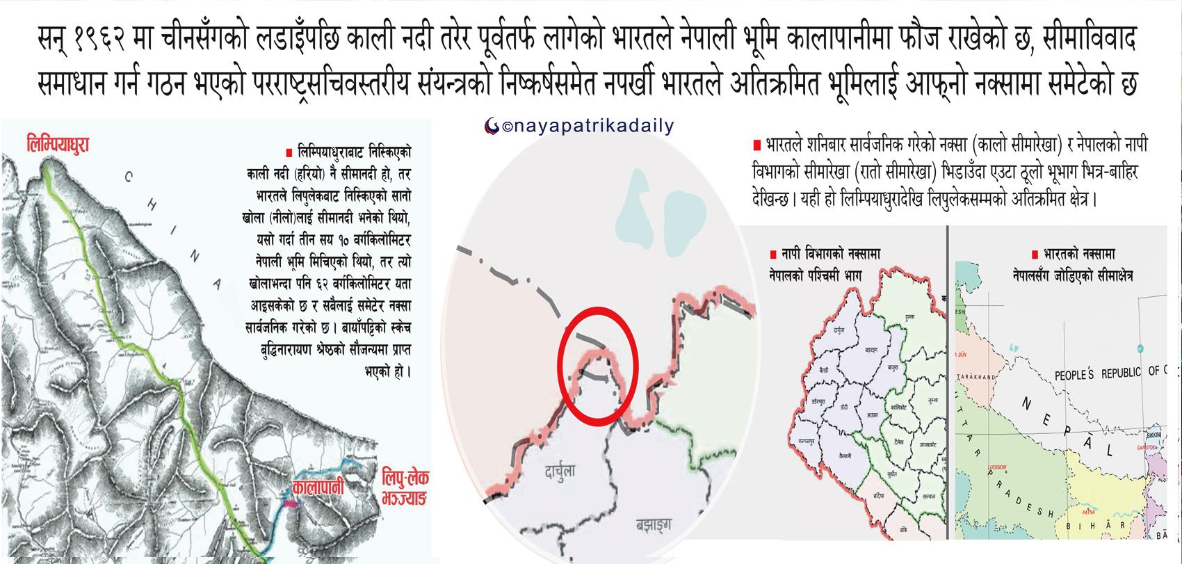 ५७ वर्षअघि अतिक्रमित नेपाली भूमि अब औपचारिक रूपमै भारतीय नक्सामा